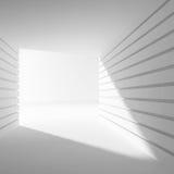 Leeg wit abstract binnenland met 3d hoek van licht, Stock Afbeelding