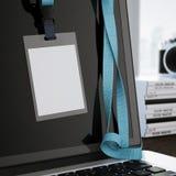 Leeg wit kenteken op het laptop scherm het 3d teruggeven Stock Afbeelding