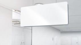 Leeg wit plastic signage model, opgezette bovenkant, het knippen weg, Royalty-vrije Stock Afbeeldingen
