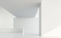 Leeg wit ruimte modern ruimte binnenlands 3d teruggevend beeld Stock Afbeeldingen