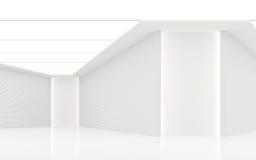 Leeg wit ruimte modern ruimte binnenlands 3d teruggevend beeld Stock Foto's