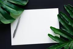 Leeg wit schrijfpapier met tropische bladeren die op zwarte lijst leggen stock afbeeldingen