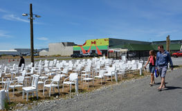 185 leeg wit stoelenbeeldhouwwerk in Christchurch Nieuw Zeeland Royalty-vrije Stock Afbeelding