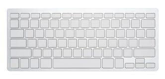 Leeg zilveren computertoetsenbord, met lege 78 sleutels voor uw die idee, op witte achtergrond wordt geïsoleerd stock foto's