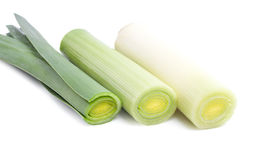 Leek. Isolated on white background stock photography