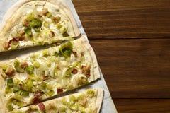 Leek and Bacon Tarte Flambee Stock Image