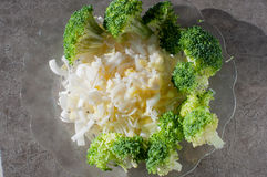 Leek and broccoli. On the plate Stock Photography