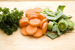 Leek with carrots and parsley Royalty Free Stock Photos