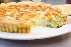 Leek and cheese pie. Leek and salty cheese pie stock photography