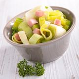 Leek cooked with bacon Stock Photos