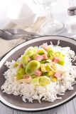 Leek cooked with bacon and rice Royalty Free Stock Images