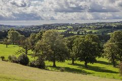 Leek, England, the UK - fields and trees, September 2018. This image shows a view of some fields and trees in Leek, England, the UK. It was taken in autumn 2018 stock photography