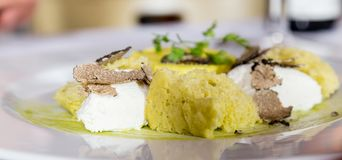 Leek flan with truffles royalty free stock image