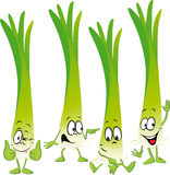 Leek or green onion- funny vector cartoon Royalty Free Stock Image
