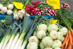 Leek, kohlrabi and other vegetables. For sale at a market Royalty Free Stock Photography