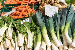Leek, mangold and carrots for sale Stock Photography