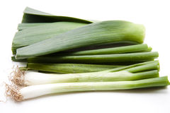 Leek onions with root Stock Photos