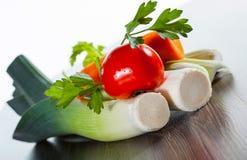 Leek, parsley, carrot and tomato Royalty Free Stock Photo