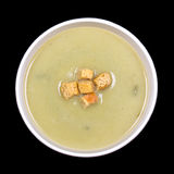 Leek and potato soup on black Royalty Free Stock Photo
