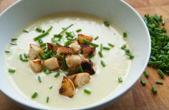Leek and Potato Soup with Croutons and Chives Stock Image