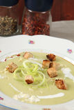 Leek and potato soup with garlic and croutons Stock Photography