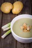 Leek and potato soup vintage Stock Images