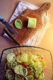 Leek, potatoes and spices in a glass bowl. royalty free stock photography