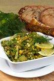 Leek salad with peas and green beans Stock Images
