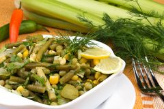 Leek salad with peas and green beans Stock Image