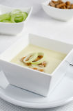 Leek soup. Fresh hot leek soup in white bowl Royalty Free Stock Photos