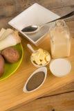 Leek soup ingredients Royalty Free Stock Photo