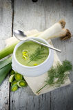 Leek soupe on bowl Royalty Free Stock Images