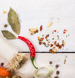 Leek and spices on white wooden background Royalty Free Stock Photo
