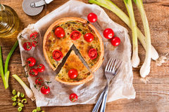 Leek and tomato quiche. Stock Images