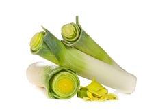 Leek vegetable on white background. Leek vegetable closeup isolated on white background Stock Images
