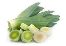 Leek vegetable on white. Leek vegetable closeup isolated on white background Stock Images