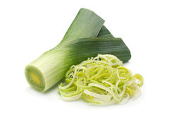 Leek vegetable on white. Leek vegetable closeup isolated on white background Royalty Free Stock Photo