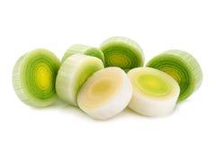 Leek vegetable on white. Leek vegetable closeup isolated on white background Royalty Free Stock Photography