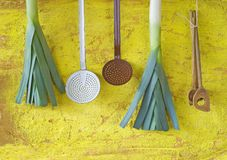 Leek and vintage kitchen utensils Royalty Free Stock Photos