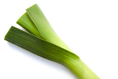 Leek on white Stock Photos