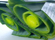 Leeks. Fresh cut leeks in close-up stock photography