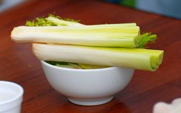 Leeks on the dinner table. Royalty Free Stock Image