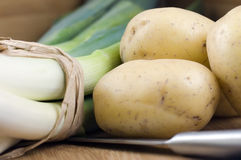 Leeks and potatoes Royalty Free Stock Photo
