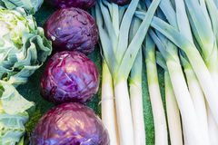 Leeks, red cabbage, cauliflower in a Paris market royalty free stock images