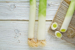 Leeks vegetable raw food with cutted texture Royalty Free Stock Photography