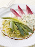 Leeks Vinaigrette with Sauce Gribiche Royalty Free Stock Photography