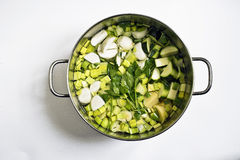 Leeks,zucchinis and turnips in a cooking pot Royalty Free Stock Photos