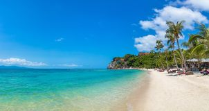 Leela beach on Phangan island,. Panorama of Leela beach on Koh Phangan island, Thailand in a summer day stock photos