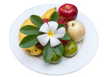 Leelawadee flower on fruits at white dish. Stock Photography