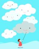 Leende för attraktion för flickarealitet tänkande på molnet Royaltyfri Fotografi